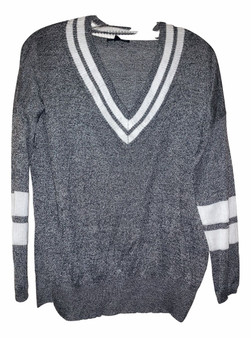 Gray White Stripe Top