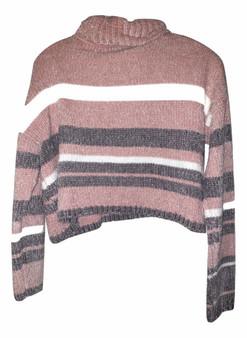 Pink Gray White Crop Sweater
