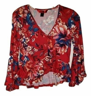 Red Floral Bell Sleeve