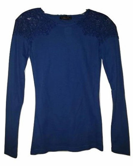 Lace Shoulder Long Sleeve Top