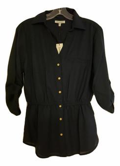 Navy Button Collar Waist Line Top
