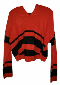 Red Black Stripe Crop Hoodie