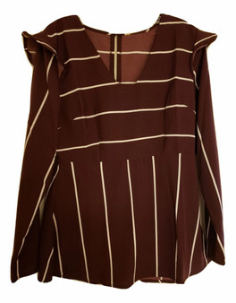 Burgundy Plum Ruffle Shoulder Top