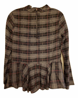 Gray Plaid Baby Doll Top