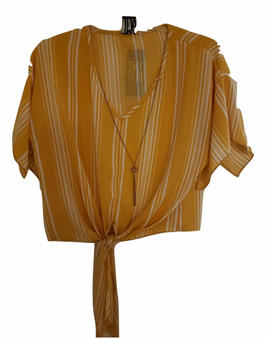 Mustard White Stripe Chain Tie Front Top