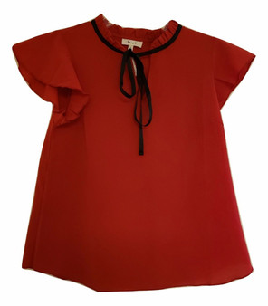 Red Ruffle Tie Neck Blouse