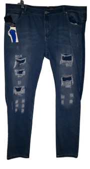 Blue Distressed Patch Jeans