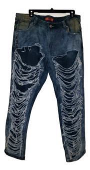 Blue Paint Dash Distressed Jeans
