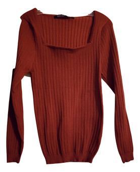 Red Square Neck Sweater