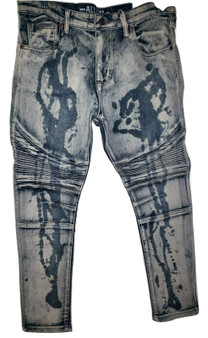 Gray Painted Wash Skinny Jeans