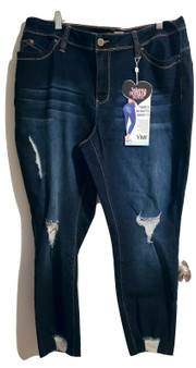 Dark Blue Distressed Ripped Fray Jeans