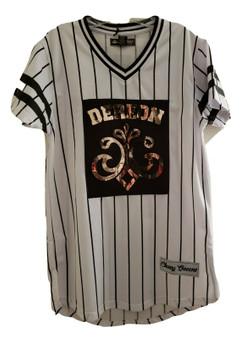 Dereon White Black Gold Stripe Jersey