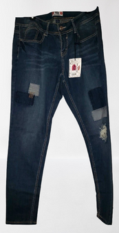 Blue Fade Patched Skinny Jeans