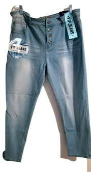 Blue Faded Button Cuff Jeans