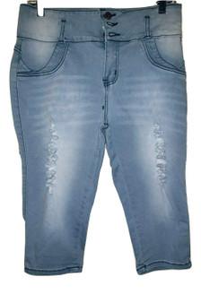 Lite Blue Wash Distress Shorts