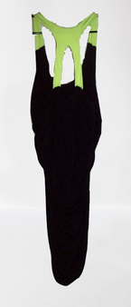 Black Lime Back Out Body Con Dress