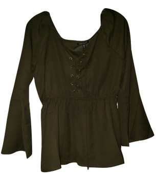 Olive Lace Up Front Cinch Waist Top
