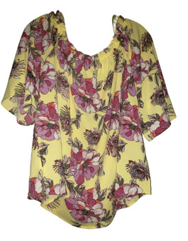 Yellow Floral Over the Shoulder Blouse