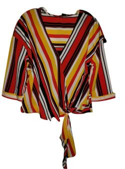 Red Stripe Tie Waist Blouse