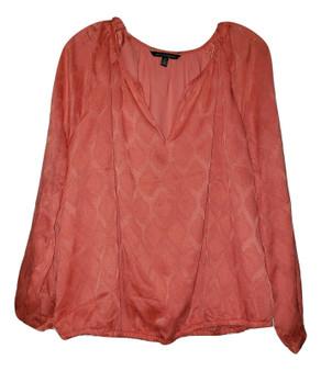 Coral Chiffon Jacquard Tie Blouse