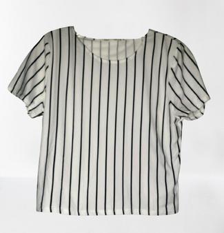 White Black Stripe Top