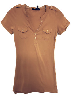 Mustard Gold Button Top