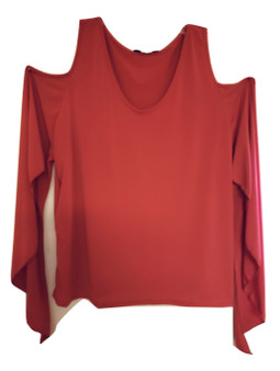 Red Shoulder Out Bell Top