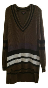 Olive Black Gray Stripe Over Size Dress