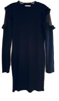 Black Mesh Ruffle Dress