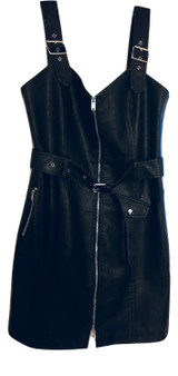 Black Buckle Zip Pull Up Dress