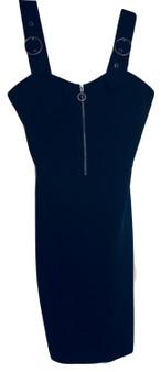 Black Zip Buckle Front Dress