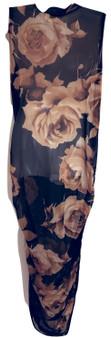 Tan Print Mesh Dress