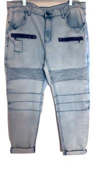 Lite Blue Distress Zip Cuff Jeans