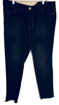 Black Tan Fray Skinny Fit Jeans