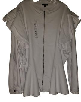 White Denim Ruffle Shoulder Jacket