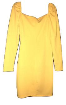 Yellow Square Puff Mini Dress