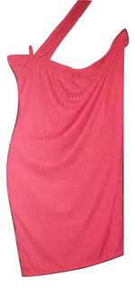 Red One Shoulder Rib Mini Dress