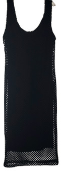 Black Fish Net Mesh Midi Dress