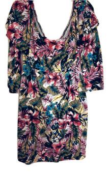 Green Flower Ruffle Over Shoulder Dress