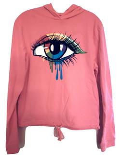 Neon Pink Eye Draw String Hood