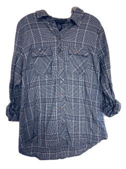 Black Plaid Button Hood