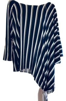 Navy Stripe Asymmetrical Top