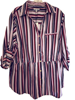 Burgundy Stripe Button Cinch Waist