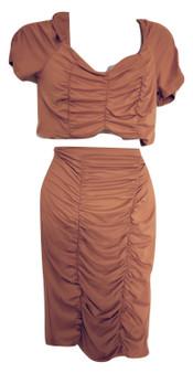 Mustard Crop Skirt Set
