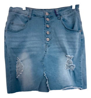 Blue Jean Distress Mid Skirt