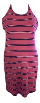 Pink Stripe Rib Strap Dress