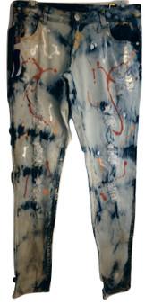Malibu Blue Painted Skinny Jeans