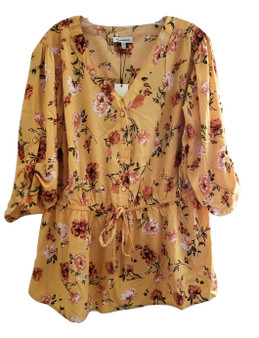 Yellow Floral Tie Smock Waist