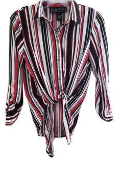 Red Stripe Tie Front