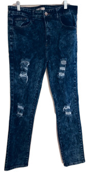 Blue Dark Distressed Skinny Jeans